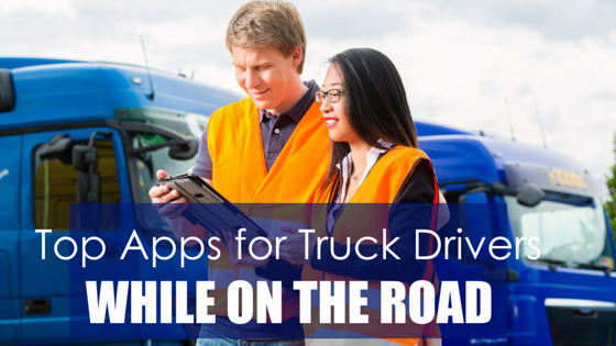 Truck drivers with tablet