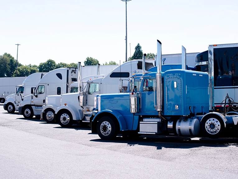 trucks parked in a line