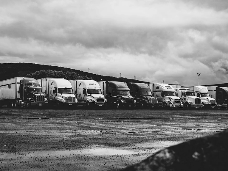 trucks lined up parked