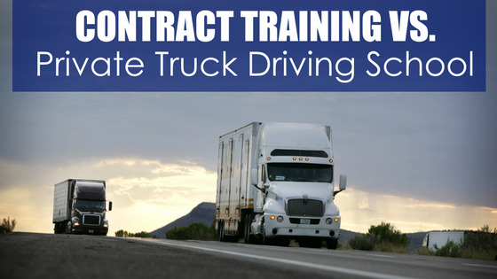 Semi-trucks on highway with text contract training vs. private truck driving school