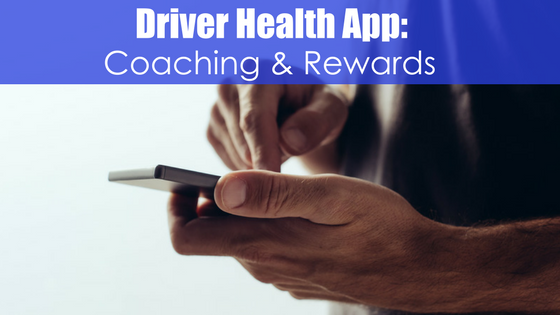 hands using a smartphone with text driver health app: Coaching and rewards