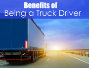 back side of truck trailer with text benefits of being a truck driver