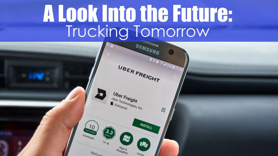 Phone with uber app with text a look into the future: Truck Tomorrow