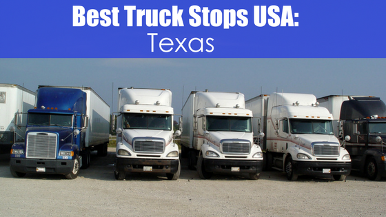 parked rigs with text best truck stops USA: Texas