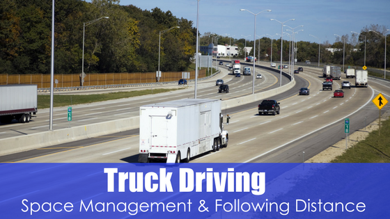 busy highway with text truck driving space management and following distance