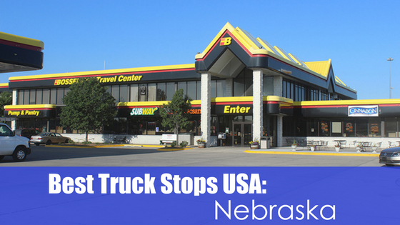 fueling station with text Best truck stops usa: Nebraska