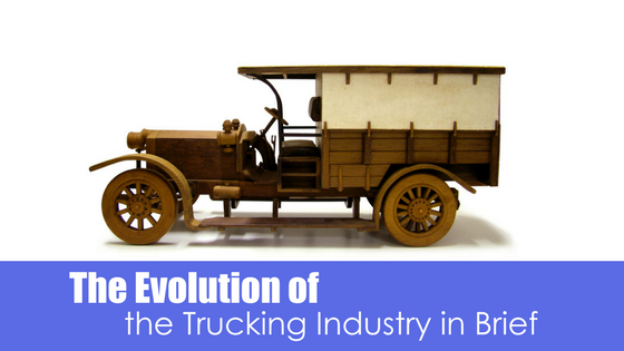 antique truck with text the evolution of the trucking industry in brief