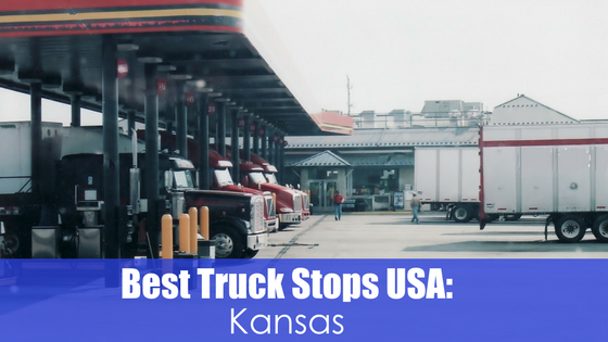 Trucks at fueling station with text best truck stops USA: Kansas