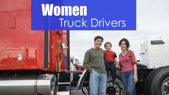 family in front of a red rig with text women truck drivers